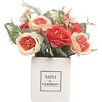 Rouge Chakil Hibiscus Rose Fleur Artificielle D/écoration Fleur pour Mariage Anniversaire F/ête D/écoration De La Maison (avec Pot de Fleurs) Size 7/×7/×20cm