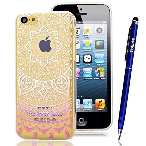 Coque iPhone 5C, Yokata Housse Étui Clair Transparente en TPU Silicone pour Apple iPhone 5C (4 pouces) Ultra Mince Hybrid Crystal Coque PC Dur Couverture Arrière avec Motif Tribal - Lotus Fleur Blanc et Rosa