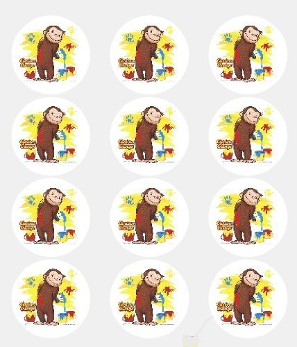 12 -Curious George Edible Cupcake Toppers by A Birthday Place (Curious George Cupcakes)