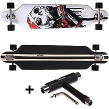 FunTomia® Freerider Longboard - 107cm x 26cm - rodamientos ABEC-11 - hecho con 9 capas de madera de arce (cráneo + T-Tool)