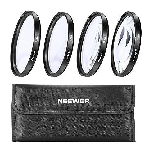 Neewer 52mm Vier Stücke Macro Close-up Filter Set (+ 1, + 2, + 4, + 10) mit Filter Tasche für Nikon D7100D7000D5200D5100D5000D3300D3200D3000D90D80und andere Kamera-Objektiv mit 52mm