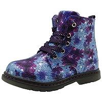 Apakowa Girls Floral Printing Chelsea Martin Boots Kids