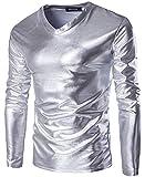 Herren T Shirt Glatt Metallic Sommer Langarmel Show Shirt V Fashion Neck Slim Fit Bluse Oberteile Tops Herbst (Color : Silber, Size : XL)
