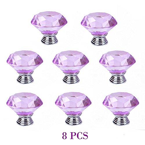 Yazer - 8 pomelli per porta in vetro cristallo, maniglie, pomelli per armadi, credenze, cassettiere, cassetti, e molto altro, decorazione della casa, materiale per fai da te, viti comprese, vari colori fra cui scegliere, cristallo, Purple, M - Maniglia Blue Door