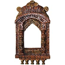 APKAMART Traditional Jharokha in Copper Colour 16 inch - Handcrafted Showpiece Article for Wall Decor, Photo Frame and Gifts