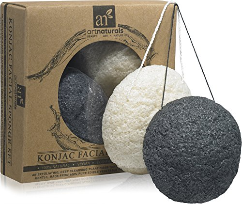 art-naturals-konjac-facial-sponge-set-2-pack-charcoal-black-natural-white-100-natural