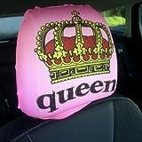 Autositz Kopfstützen Bezug 2Stück Pink Queen Krone Design hergestellt in Yorkshire