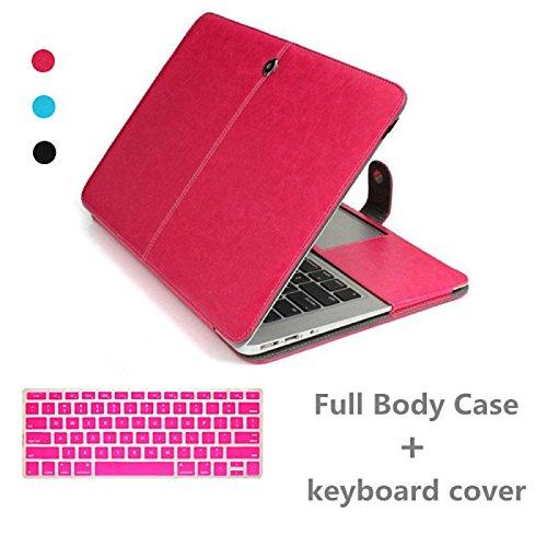 Tiankaid de Cuero de Lujo más vendidos Caso del Cuerpo y la Tapa de Teclado Completo para MacBook Pro de 15,4 Pulgadas (Colores Surtidos), Black