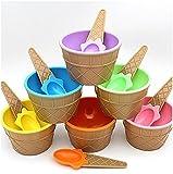 Jimmackey 6 Pezzi Ciotole per Gelato con un Cucchiaio Colore Casuale
