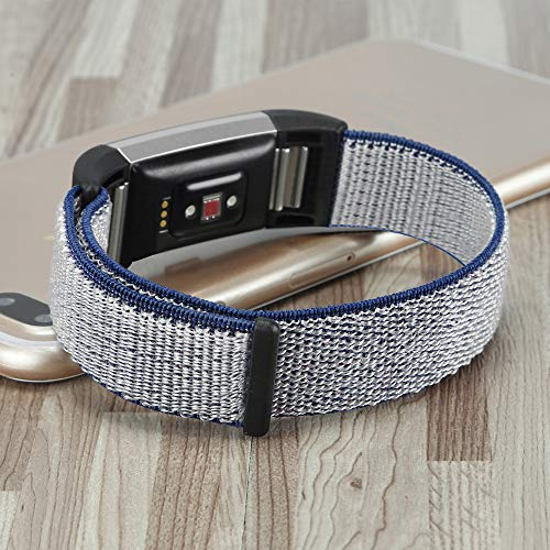 FBGood Leichte Ersatz Uhrenarmband, Unisex Sportarmband Mode Weiches Nylon Schlaufe Geschäft Ersatzband Zubehör Smart Watch Armband für Fitbit Charge 2 (Casio Armbanduhr Analoge Klettverschluss)