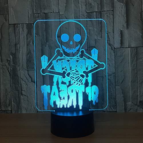 YDBDB Halloween Fantasmi 7 Lampada a colori 3D Visual Led Night Lights per bambini Touch tavolo USB Baby Sleeping Nightlight