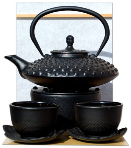 Chaud Feuille Cups & Théière en fonte d'inspiration japonaise avec repose-théière Noir 0,8 l