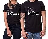 Krone Prince Princess King Queen Partner Look Pärchen Valentinstag T-Shirt Set, Größe:XL;Partner Shirts:Damen T-Shirt Schwarz
