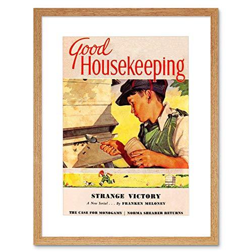 MAGAZINE COVER HOME DOMESTIC BEES HONEY BOY USA FRAMED ART PRINT B12X6863