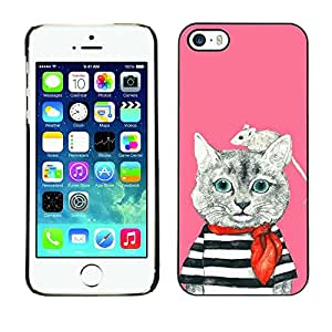 Omega Covers - Snap on Hard Back Case Cover Shell FOR Apple iPhone 5 / 5S - Sailor Mouse Pink Cute Drawing