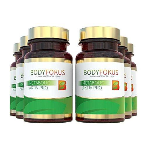 BodyFokus Metabolic Aktiv Pro - Natürliche Aktivierung des Stoffwechsels und Unterstützung der Gewichtsreduktion - 6 Dosen