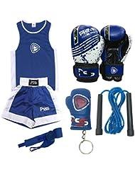 Prime Kids Boxing Uniform Set of 5 Pieces Boxing Uniform + Boxing Wrap + Boxing Gloves 1004 6-OZ Blue