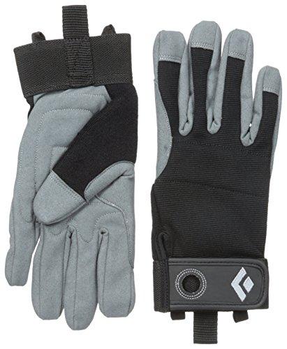 Black Diamond Crag Fingerhandschuhe/Atmungsaktiver Kletterhandschuh mit Klettverschluss sowohl Zum Sichern als Auch Zum Alpinklettern/Schwarz Unisex, Größe M