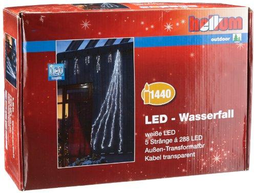 Hellum 565447 LED Wasserfall mit 5 Strängen und 288 weiße LED\'s, inklusiv Funktionsregler und Trafo