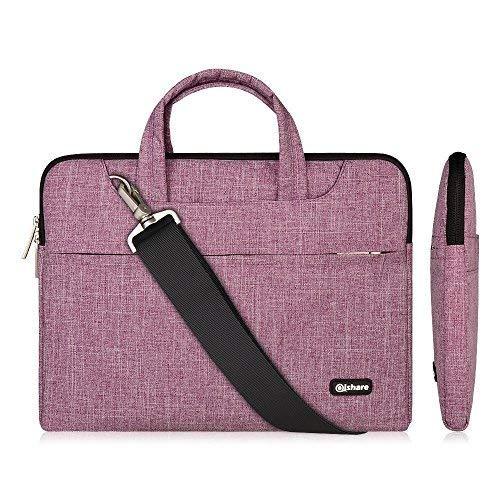 Qishare 13.3-14 Pulgadas Multifuncional portátil Hombro Bolsa maletín portátil de Ordenador portátil Caso Portador de la Ordenador portátil Messenger Caso(13.3-14 Pulgadas,Líneas púrpuras)