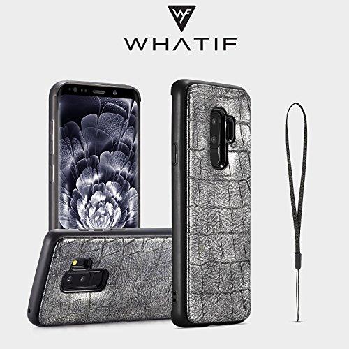 Wkae Premium PU Cuir [Crocodile Pattern] PC + TPU Anti-Scratch Choc Absorption Cas pour Samsung Galaxy S9Plua