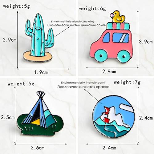 JTXZD Brosche 4 Teile/Satz Cartoon Mexikanischen Kaktus Mountainee Bus Entlein Zelt Brosche Pins DIY auf Pin Denim Jacke Abzeichen - Entlein Kostüm