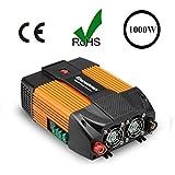 Excelvan 1000W Convertisseur/Onduleur de Voiture 12V Courant Continu Vers 220V~230V Courant Alternatif - USB Port et AC Prise
