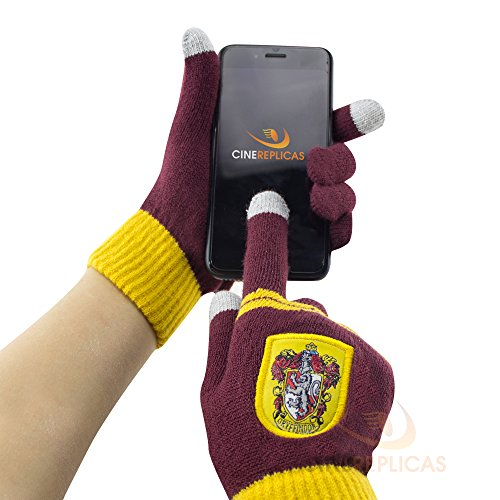 Cinereplicas - Harry Potter - Gants Ecran Tactiles - Licence Officielle - Maison Gryffondor - Taille Unique - Rouge et Jaune