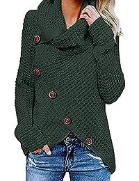 ShaDiao Damen Button Pullover Langarm Sweatshirt Pullover Blusen, Pullover Lange Asymmetrie Frau Pullover Uniform Rollkragen Lose Bluse Gestrickte Warme Ärmel Chic