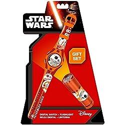 Kids Euroswan - Star Wars Episode VII SWE7055 Gift Set Clock + Flashlight - BB8 model