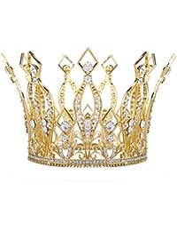 """Santfe 4 """"Altura Lujo Full Corona Corona Tiara Pageant de novia Prom Boda Chapado En Oro Rhinestone Crysta"""