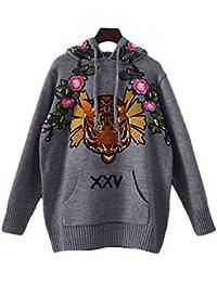 SGHTRHXUT suéter suéter al por Mayor suéter otoño Invierno Desgaste suéter Hat Personalidad Bordado Chaqueta Suelta, Gris, código Uniforme