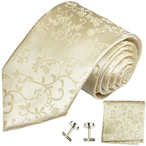 Paul Malone Krawatten Set 3tlg 100% Seide champagner Hochzeit (Normallange 150cm)