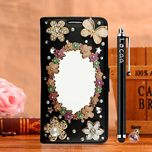 Locaa(TM) Pour Apple IPhone 7 Plus IPhone7+ (5.5 inch) 3D Bling Case Coque Love Cuir Qualité Housse Chocs Étui Couverture Protection Cover Shell Phone Avec Nous [Couleur 3] Bowknot 2 - Noir Miroir magique - Noir