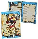 Unbekannt Meine Freunde Buch - Pirat für Jungen - mit Name - dick gebunden für Schulfreunde Poesie A5 Hardcover - Freundebuch Poesiealbum Kinder Schule