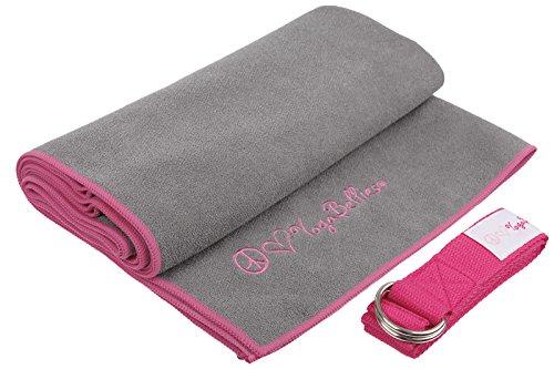 PeaceLoveYoga Serviette pour tapis de yoga avec sangle offerte 100% microfibre douce super absorbante antidérapante à séchage rapide Pour Bikram yoga pilates gym, Gris