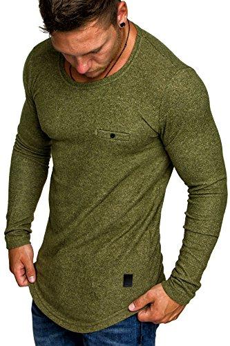 Amaci&Sons Herren Basic Pullover Melange Sweatshirt Crew Neck Fein-Strick Hoodie 6055 Khaki Melange M