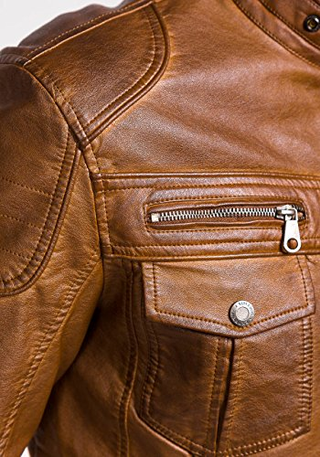 BOLF Herrenjacke Kunstleder Sweatjacke Übergangs Ökoleder Zipper EXTREME MIX Braun_EX282