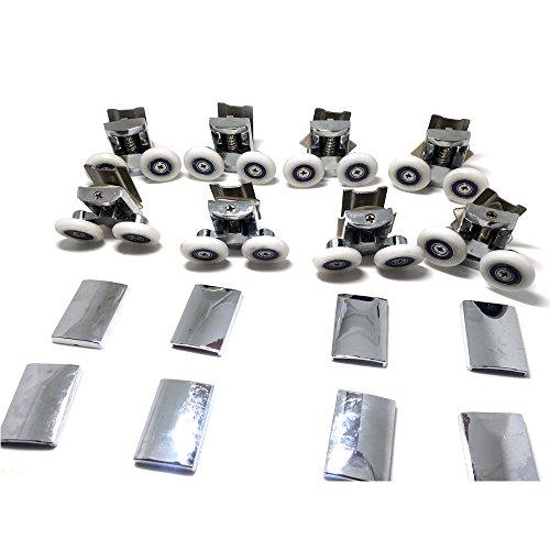 Roues de fixation de porte de rechange pour douche en chrome – 4 x Haut et Bas 4 x – pour verre 4–6 mm