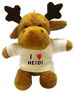 Moose Plush Keychain with I Love Heidi (first name/surname/nickname)