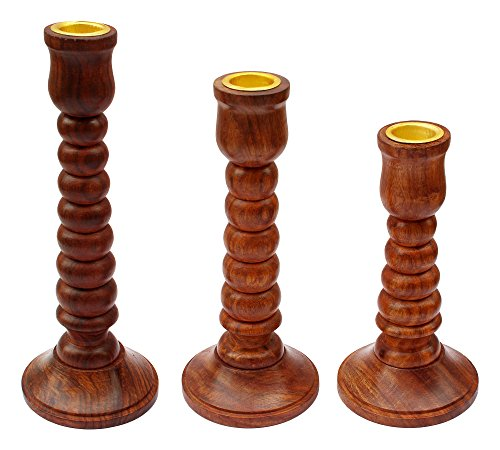 ITOS365 Handmade Wooden Candle Stand Holder Gifts, Set of 3