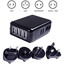 Yugee® Rapide Chargeur USB de voyage international Chargeur Secteur Mural Portable avec 4 Ports USB Adaptateur de Voyage Universel Avec Prises(Plugs) Interchangeables UK EU AU et US - Garantie à Vie - pour Apple iPhone iPad, Samsung Galaxy, Smartphones, Tablette, Batterie Externe - Noir