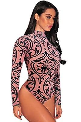Dokotoo Women Sexy Sheer Mesh Print Long Sleeves Bodysuit Shapewear Lingerie