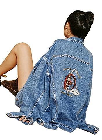 Femmes Mode manches longues broderie en vrac Casual BF Lavé Denim Jacket Outwear
