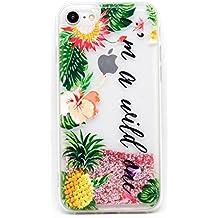"""Funda Rosa Agua """" Im a wild one """" Carcasa con purpurina brillante escarchada Tpu Silicona con liquido interior para Apple iPhone 6 6S (4,7"""")"""