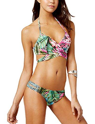 Blooming Jelly Damen Sexy Triangel Bademode, Neckholder Badeanzug Criss Kreuz Strappy Blatt Blumen Druck,Leopard Bandage Unterteil Brazilian Bikini Set
