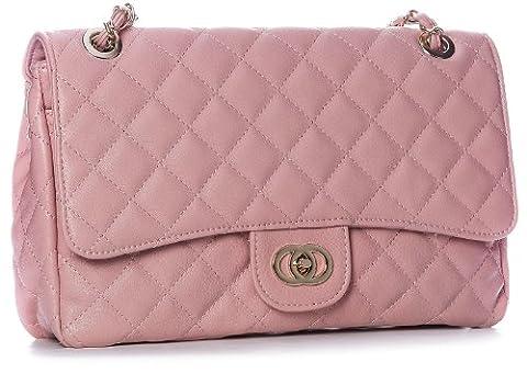 Big Handbag Shop Womens Medium Quilted Gold Chain Shoulder Bag (6020 Pale Pink)