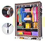 #4: Evana 4.1 Feet Triple Section Portable Dust & Water Proof Wardrobe Creative Printed Cabinet,Easy Installation Folding Wardrobe Cupboard Almirah Foldable Storage Rack Collapsible Cloths Organizer With Shelves Washable Cover ,Royal Black Gold Plaid