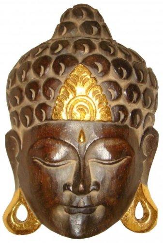 Buddha - Maske GOLD, handgearbeitete Holz-Maske aus Bali, Wandmaske, Grösse:35 cm