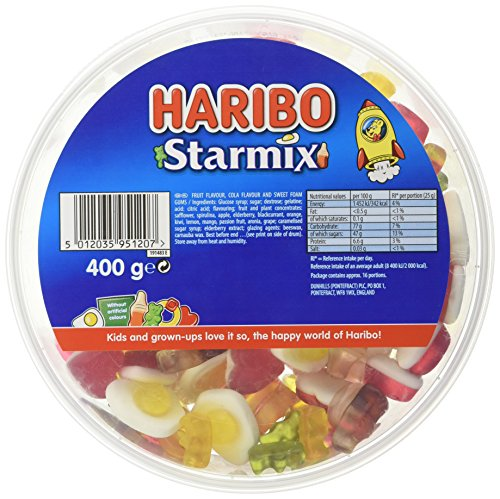 Haribo Starmix Drum Sweet Foam Gums, 400 g, Pack of 8